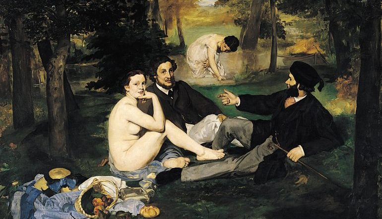 Manet's Luncheon on the Grass painting - naked woman sitting with two clothed men, a woman in a dress in the river in the background