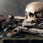 Vanitas Still Life painting - tabletop with skull, paper, trinkets
