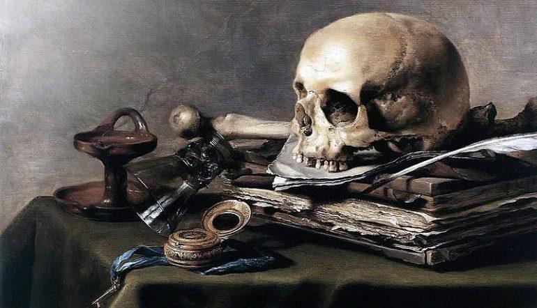 Vanitas Still Life painting - tabletop with skull, paper, trinkets