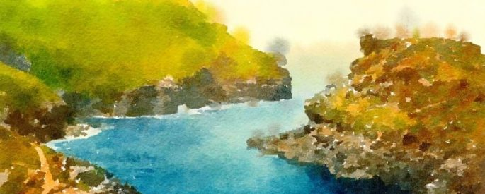 watercolor painting of blue water snaking through green hills on both sides, heading into a hazy horizon