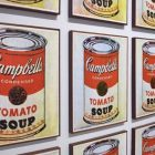 Soup Cans by Andy Warhol, repeated images of Campbells tomato soup