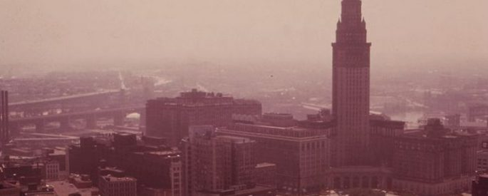 vintage photograph of Terminal Tower on Cleveland skyline