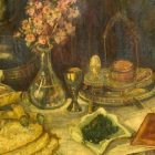 painting of a table set for Passover