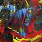 abstract painting with a red and yellow curve on the right side, blue along with red and yellow in the middle against a gray-green background