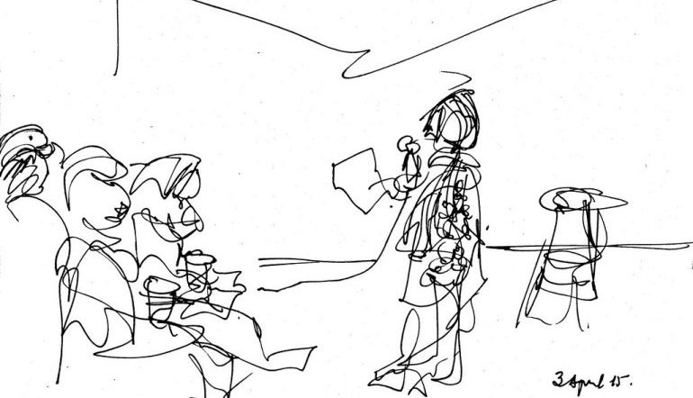 gesture drawing of a poetry reading