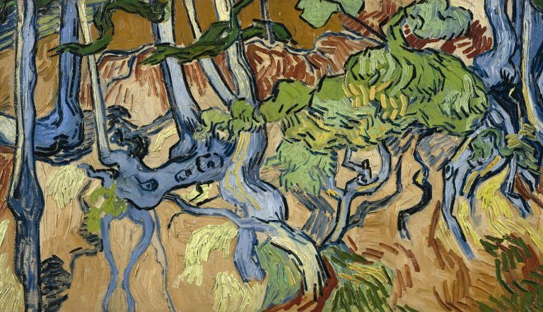 Van Gogh painting of abstracted blue tree roots