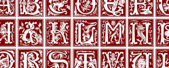 16th century initial capitals, block letters with red design