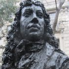 giant bust of Pepys outside