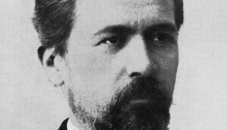 Anton Chekhov - black and white photo up close of Chekhov's face