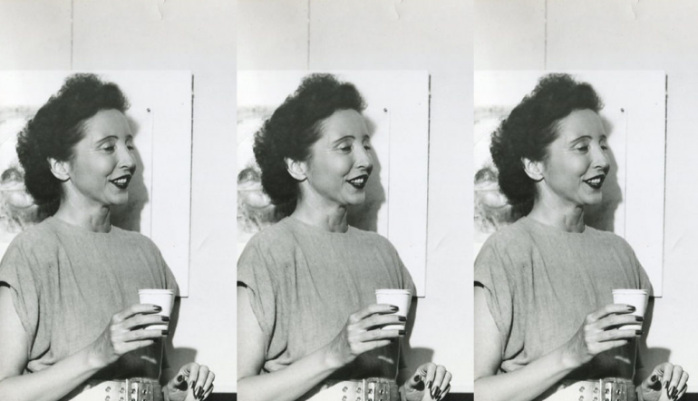 black and white photo in a repeated pattern of Anais Nin holding a cup