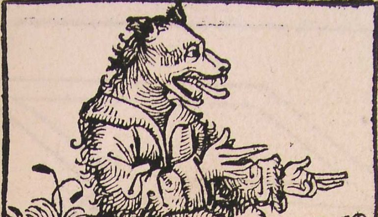 old, print depicting a cynocephali, man with a dog head