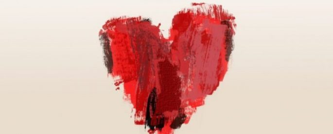 painted heart with reds and black