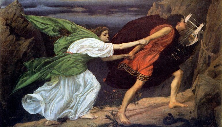 painting of Orpheus holding his lyre in one hand and taking the hand of Eurydices in the other as they flee
