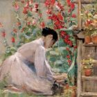 painting of a woman in a dress gardening, red flowers, potted plants on a wooden shelf