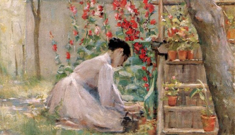 painting of a woman gardening, red flowers, potted plants on a wooden shelf