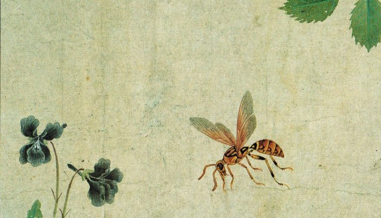 Beauty on the Shrub, painting by Ma Ch'üan of an insect flying towards a sparse blue-flowered plant