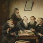 painting of a group of rabbis sitting around a table