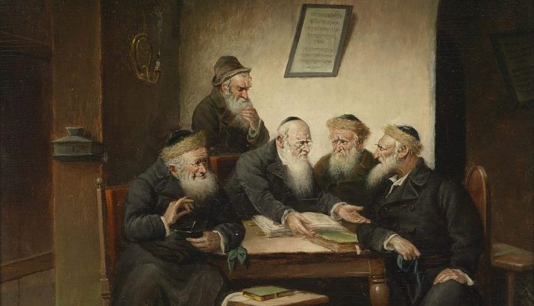 painting of a group of rabbis sitting around a table, seemingly arguing over a text