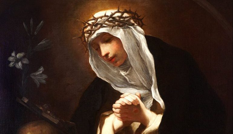 Baroque-style painting of St. Catherine of Siena, who wears a crown of thorns over her veil