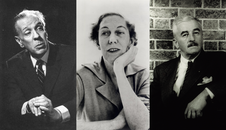 side by side portraits of Jorge Luis Borges, Eudora Welty, and William Faulkner