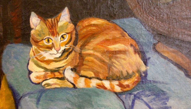 painting of an orange cat resting on a blue cushion