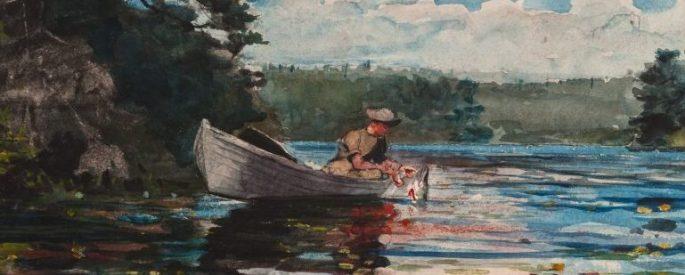 Winslow Homer painting, Pickerel Fishing