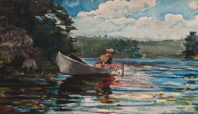 Winslow Homer painting, Pickerel Fishing - painting shows in a woman in a boat on a lake fishing
