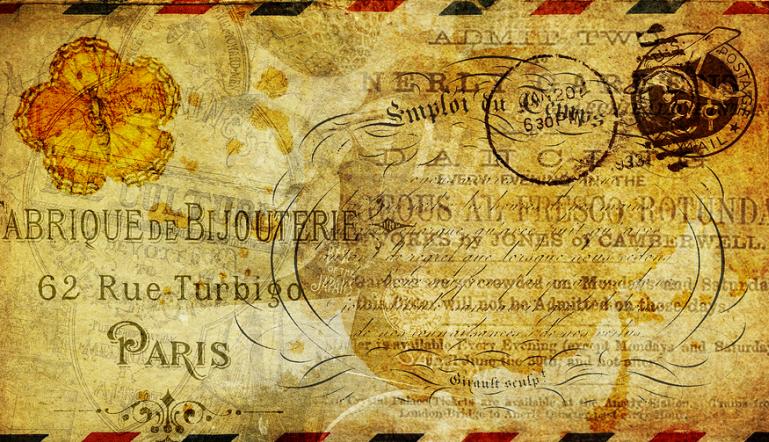 vintage enveloped letter printed in French