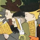 cartoon drawing of train passengers reading