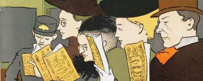 cartoon drawing of train passengers reading