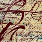 abstract painting with what appear to be layers of sprawling cursive writing on top of each other