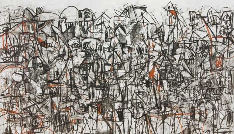 a crowded abstract drawing of black and white with orange accents