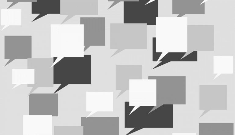 boxy speech bubbles in white, gray, and black