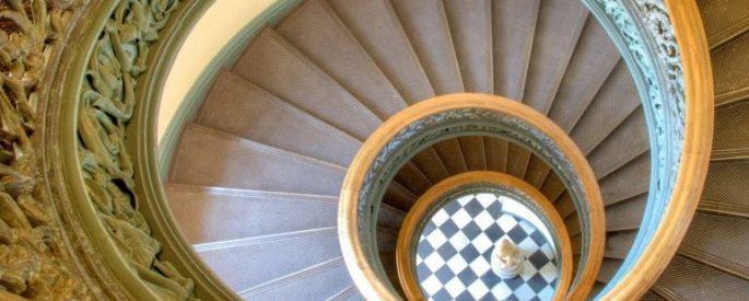 aerial view of a spiral staircase