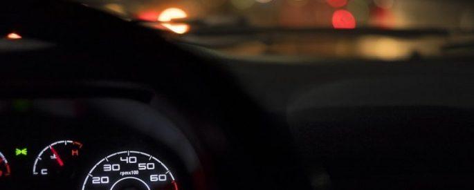 car dashboard, lights in the windshielf