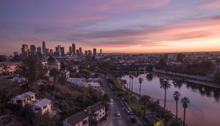 sunset in Los Angeles, with downtown LA in the distance