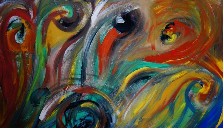 colorful abstract painting with swirls