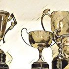 cartoon drawing of various gold cup trophies