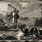Engraving of Hercules rescuing Hesione from a sea-monster.
