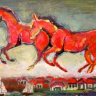A painting with two large red horses galloping among the clouds as a small seaside village sits below them.