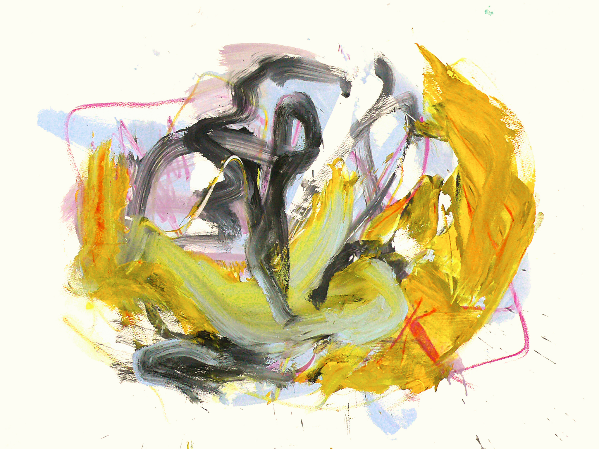 Abstract painting featuring chunky and light brushstrokes in ochre, pink, and charcoal