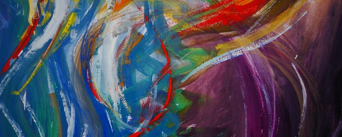 Colorful abstract painting features swirling brushstrokes in a variety of colors