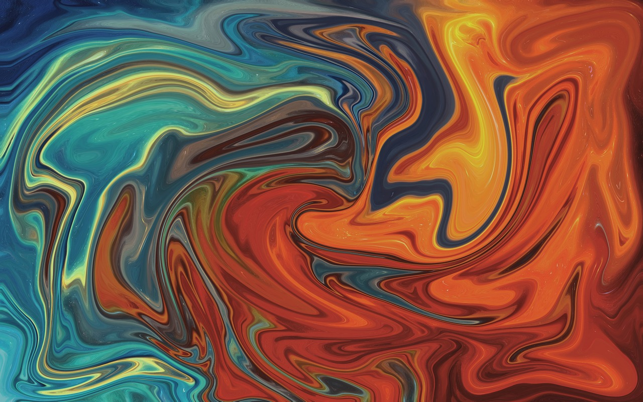 A colorful abstract painting features swirling reds and blues