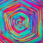 Rainbow yarn in a God's eye pattern