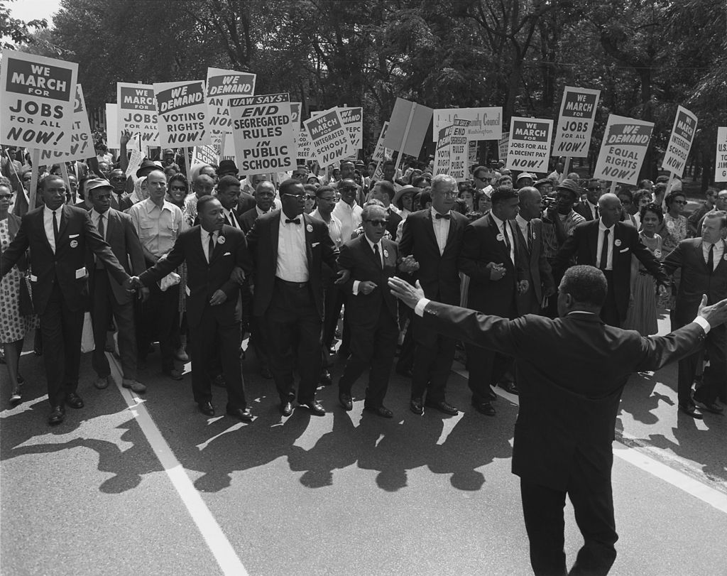 A black and white photograph of participants in the March on Washington in 1963