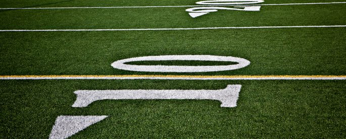 Image of the yard lines of a football field