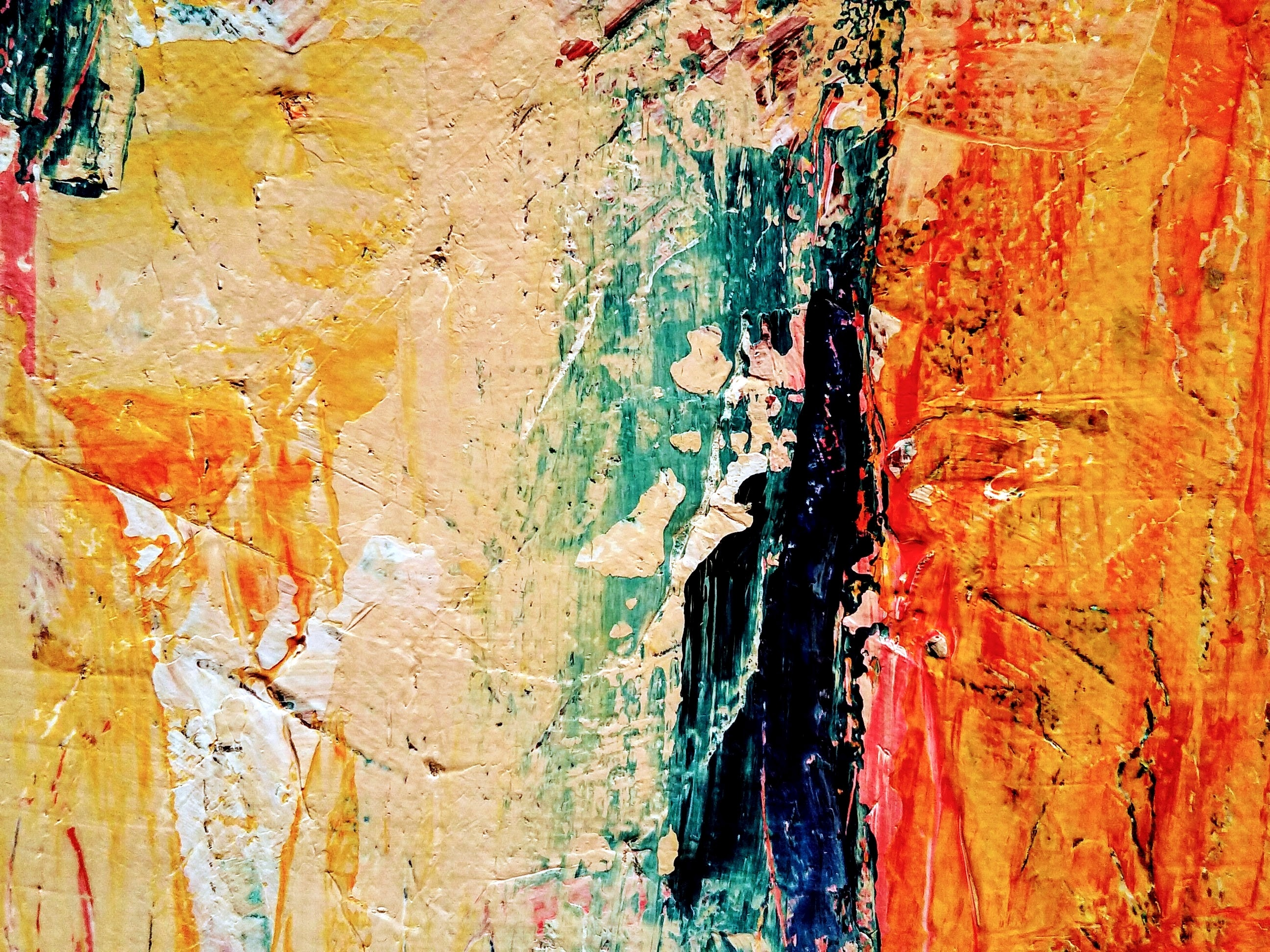 Photo of an abstract painting, zoomed in on a series of brushstrokes