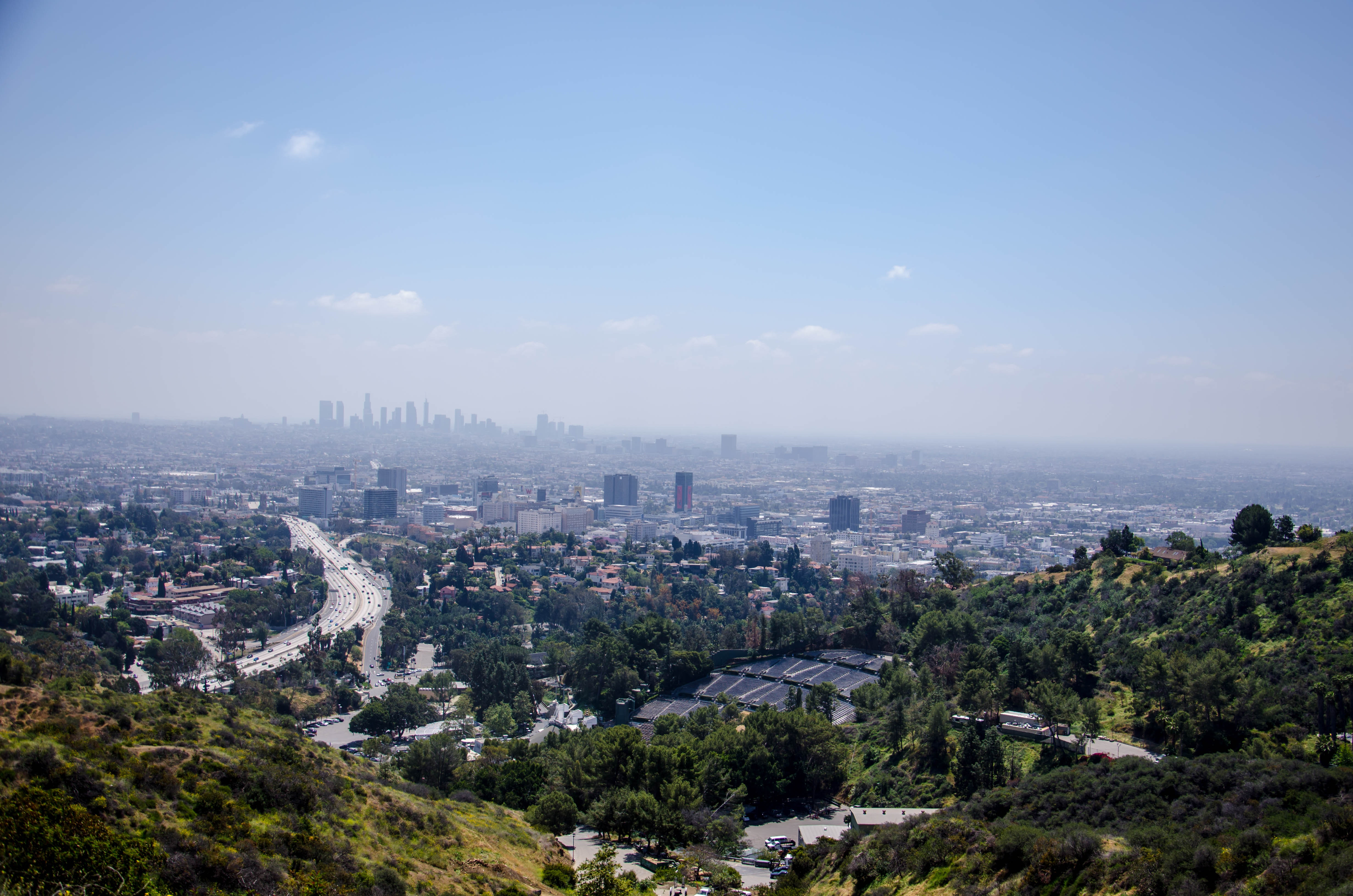 Aerial photo of Los Angeles, with the city skyline in the distance