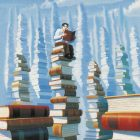 illustrated rendering of stacks of books that resemble skyscrapers - a man with glasses sits atop one of these stacks reading a book