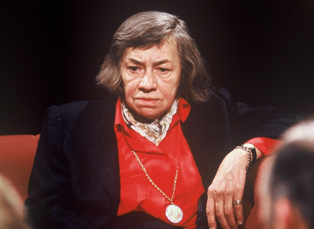 Photo of Patricia Highsmith on After Dark, sitting, looking pensive